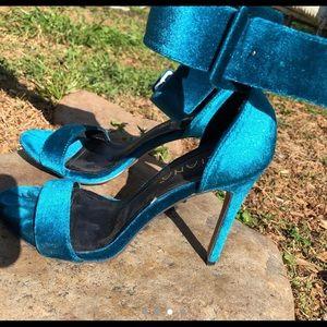 Velvet-like heels